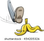a cartoon foot about to step... | Shutterstock .eps vector #454205326