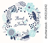 floral vector round frame. all... | Shutterstock .eps vector #454214242