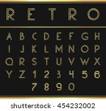 gold alphabetic fonts and... | Shutterstock .eps vector #454232002