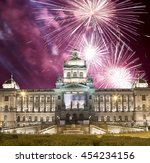 night view of wenceslas square... | Shutterstock . vector #454234156