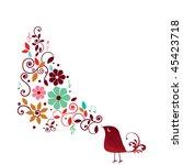 Singing stylized bird stock vector