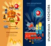 firefighters banners equipment... | Shutterstock .eps vector #454241386