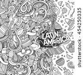 cartoon cute doodles hand drawn ... | Shutterstock .eps vector #454250335