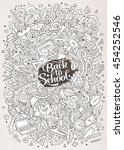 cartoon cute doodles hand drawn ... | Shutterstock .eps vector #454252546