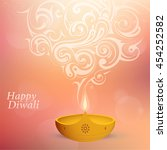 indian festival diwali greeting ... | Shutterstock .eps vector #454252582