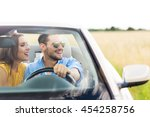 couple enjoying a drive in a... | Shutterstock . vector #454258756