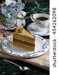 mocha slide cake    Shutterstock . vector #454262098