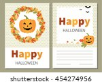 greeting card for halloween.... | Shutterstock .eps vector #454274956