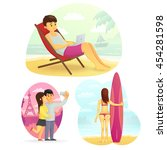 set travel  holiday.... | Shutterstock .eps vector #454281598