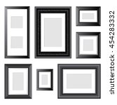 7 black frames over white... | Shutterstock . vector #454283332