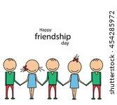 happy friendship day. flat line ...   Shutterstock .eps vector #454285972
