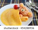 homemade bear shaped omelet rice | Shutterstock . vector #454288936
