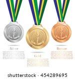 gold medal  silver medal ...   Shutterstock .eps vector #454289695