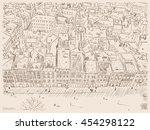 hand drawn ink line sketch... | Shutterstock .eps vector #454298122