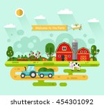 flat design vector rural... | Shutterstock .eps vector #454301092