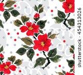 seamless floral pattern... | Shutterstock . vector #454313026