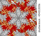 seamless vintage pattern on red ... | Shutterstock .eps vector #454313356