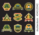 flat army emblem set with armed ... | Shutterstock .eps vector #454313542