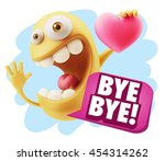 3d rendering. emoji saying bye... | Shutterstock . vector #454314262