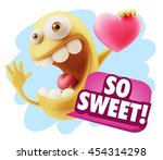 3d rendering. emoji saying so... | Shutterstock . vector #454314298
