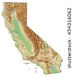 relief map   california  united ... | Shutterstock . vector #454316062