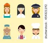 set of cartoon profession woman ... | Shutterstock .eps vector #454321192