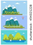 three flat design nature...   Shutterstock .eps vector #454321228