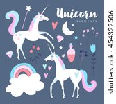 fairytale elements. unicorn... | Shutterstock .eps vector #454322506