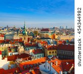 red prague roofs   view from... | Shutterstock . vector #454344982