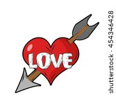red heart and arrow of cupid.... | Shutterstock . vector #454346428