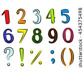 number set. hand drawn vector... | Shutterstock .eps vector #454375498