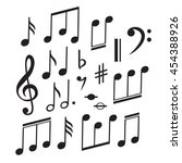 music notes collection. vector... | Shutterstock .eps vector #454388926