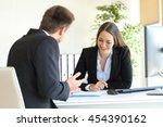 salesclerk talking trying to... | Shutterstock . vector #454390162