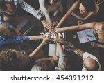 teamwork team building spirit... | Shutterstock . vector #454391212