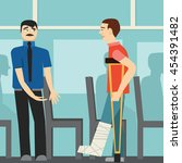 good manners. the man on the... | Shutterstock .eps vector #454391482