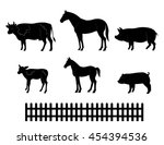 vector silhouettes of farm... | Shutterstock .eps vector #454394536