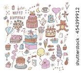 happy birthday set | Shutterstock . vector #454399912