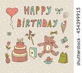 happy birthday card | Shutterstock . vector #454399915