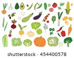 vegetables graphic color set | Shutterstock . vector #454400578