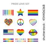 lgbt symbols set in rainbow... | Shutterstock . vector #454406368