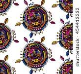 decorative boho circle... | Shutterstock .eps vector #454413232