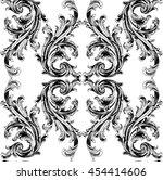 baroque damask black and white... | Shutterstock .eps vector #454414606
