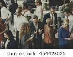 casual catering discussion... | Shutterstock . vector #454428025