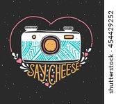 retro photo camera. hand drawn... | Shutterstock .eps vector #454429252