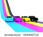 cmyc cars ready to go 3d render | Shutterstock . vector #454440712