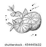 vector lemons and mint.... | Shutterstock .eps vector #454445632