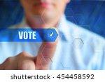 vote concept illustration....   Shutterstock . vector #454458592