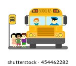 illustration of school kids... | Shutterstock .eps vector #454462282