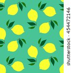 seamless pattern with lemons on ... | Shutterstock .eps vector #454472146