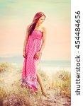 beautiful fashion model woman... | Shutterstock . vector #454484656